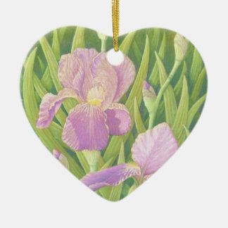 Irises at Wisley Gardens in Pastel Mothers Day Ceramic Heart Decoration