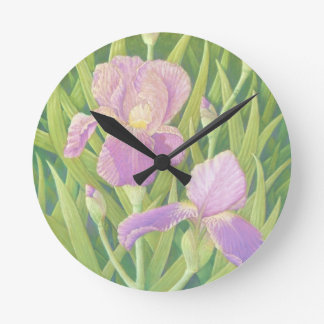 Irises at Wisley Gardens in Surrey in Pastel Round Clock