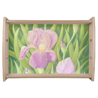Irises at Wisley Gardens in Surrey in Pastel Serving Tray