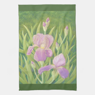 Irises at Wisley Gardens, Surrey in Pastel Tea Towel