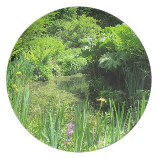 Irises by Pond, Richmond Park Melamine Plate