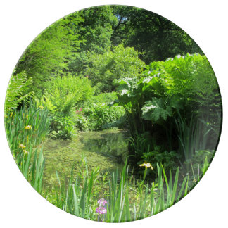 Irises by Pond, Richmond Park Porcelain Plate