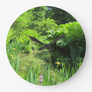 Irises by Pond, Richmond Park Wall Clock