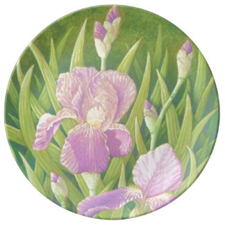 Irises by Pond, Wisley Gardens Porcelain Plate