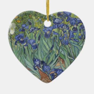 Irises by Van Gogh Blue Iris flowers Ceramic Heart Decoration