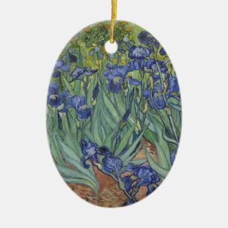 Irises by Van Gogh Blue Iris flowers Ceramic Oval Decoration