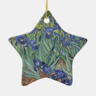 Irises by Van Gogh Blue Iris flowers Ceramic Star Decoration