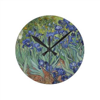 Irises by Van Gogh Blue Iris flowers Round Wall Clock