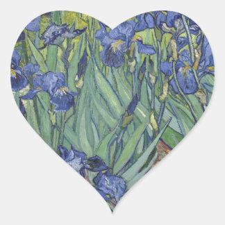 Irises by Van Gogh Blue Iris flowers Heart Sticker