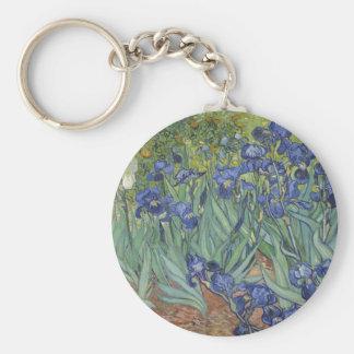 Irises by Van Gogh Blue Iris flowers Keychains