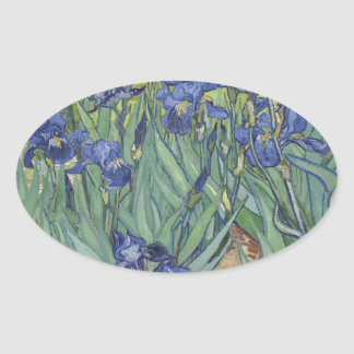 Irises by Van Gogh Blue Iris flowers Oval Sticker