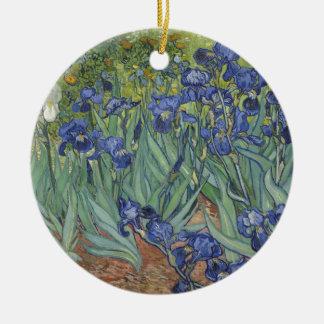 Irises by Van Gogh Blue Iris flowers Round Ceramic Decoration