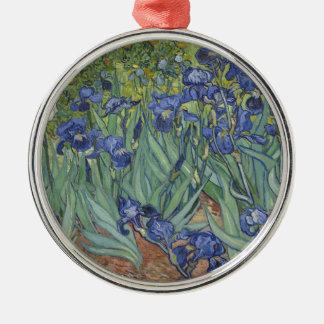 Irises by Van Gogh Blue Iris flowers Silver-Colored Round Decoration