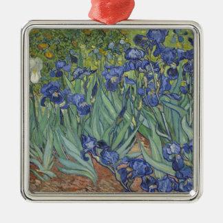 Irises by Van Gogh Blue Iris flowers Silver-Colored Square Decoration