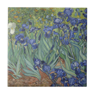 Irises by Van Gogh Blue Iris flowers Small Square Tile