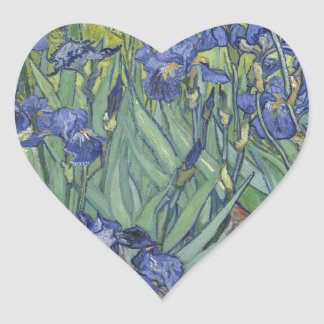 Irises by Van Gogh Blue Iris flowers Heart Sticker