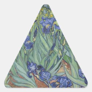 Irises by Van Gogh Blue Iris flowers Triangle Sticker