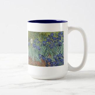 Irises by Van Gogh Blue Iris flowers Two-Tone Mug