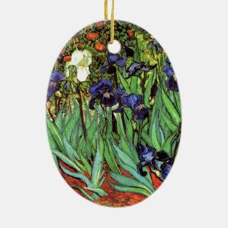 Irises by Van Gogh Fine Art Ceramic Oval Decoration