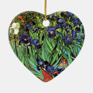 Irises by Van Gogh Fine Art Double-Sided Heart Ceramic Christmas Ornament