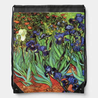 Irises by Van Gogh Fine Art Drawstring Backpack