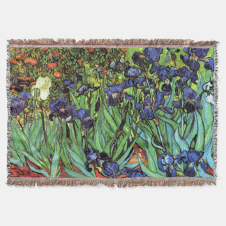 Irises by Van Gogh Fine Art Throw Blanket
