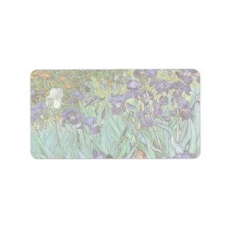 Irises by Vincent van Gogh, Vintage Flowers Art Address Label
