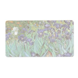 Irises by Vincent van Gogh, Vintage Flowers Art Shipping Label