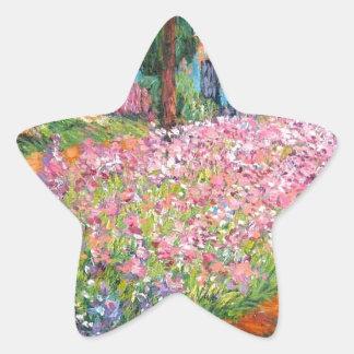 Irises in Artist's Garden Star Sticker