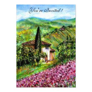 IRISES IN TUSCANY,Green Purple Flower Field 13 Cm X 18 Cm Invitation Card