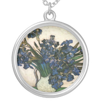 Irises In Vase (Van Gogh) Silver Plated Necklace