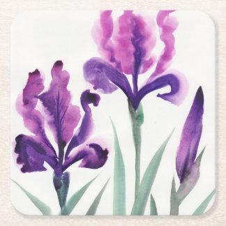 Irises Square Paper Coaster
