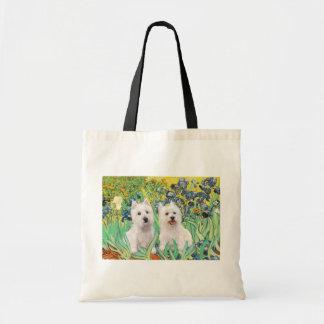 Irises - Two Westies Canvas Bag