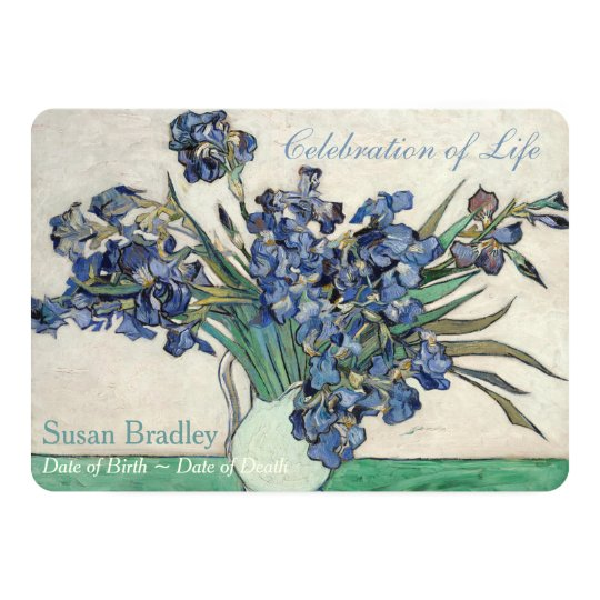 Irises Van Gogh Celebration Funeral Announcement