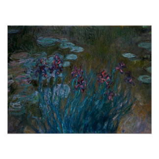Irises & Water Lilies Poster