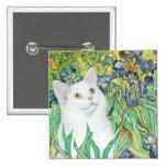 Irises - White cat Pinback Buttons