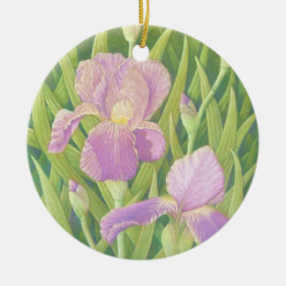Irises, Wisley Gardens in Pastel Circle Ornament