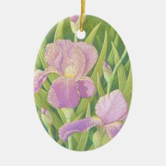 Irises, Wisley Gardens in Pastel Oval Ornament