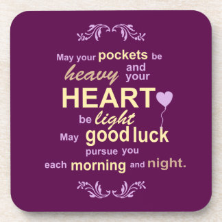 Irish Abundance Happiness and Good Luck Blessing Coaster
