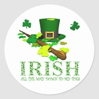 Irish All The Way Down to My Toes Stickers