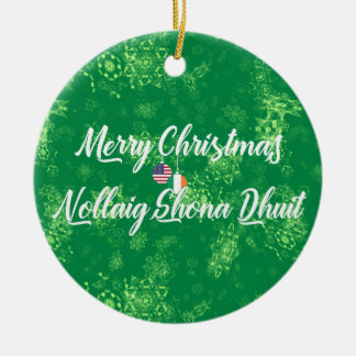 Irish American Bilingual Decoration, Gaelic Christmas Ornament