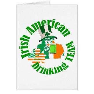Irish american drinking team greeting card
