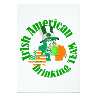 "Irish american drinking team 5"" x 7"" invitation card"