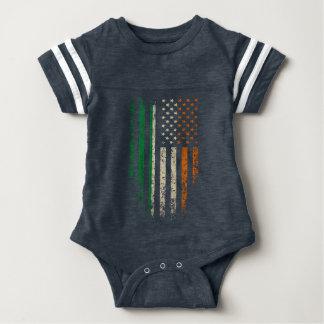 Irish American Flag Grunge Baby Bodysuit