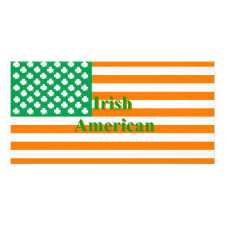 Irish american flag customized photo card