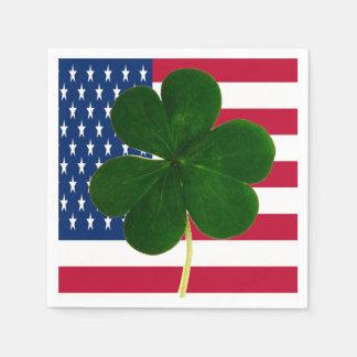 Irish American Flag Shamrock Clover St. Patrick Disposable Napkin