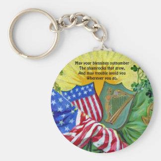 irish american flags basic round button key ring