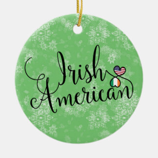 Irish American Hearts Christmas Tree Ornament