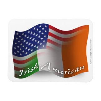 Irish-American Waving Flag Rectangular Photo Magnet