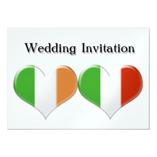 Irish and Italian Heart Flags Wedding Invitation